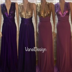 Convertible Dress Purple skirt and Gold Sequin top